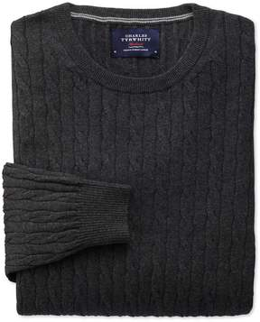 Charles Tyrwhitt Charcoal Cotton Cashmere Cable Crew Neck Cotton/Cashmere Sweater Size XL