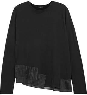 Clu Pleated Organza-trimmed Cotton-jersey Sweatshirt - Black