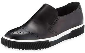Prada Spazzolato Brogue Slip-on Sneaker, Black