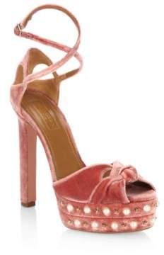 Aquazzura Harlow Velvet Pearls Platform Sandals