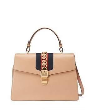 Gucci Sylvie Leather Top-Handle Satchel Bag - CAMEL - STYLE