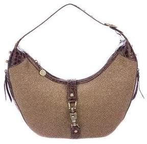 Eric Javits Leather-Trimmed Straw Shoulder Bag