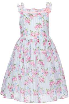 Laura Ashley London Little Girls 2T-6X Striped/Floral-Print Sleeveless Dress