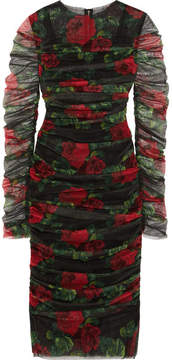 Dolce & Gabbana Ruched Floral-print Cotton-tulle Midi Dress - Black