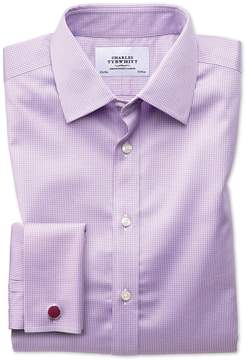 Charles Tyrwhitt Extra Slim Fit Non-Iron Puppytooth Lilac Cotton Dress Shirt French Cuff Size 15/35