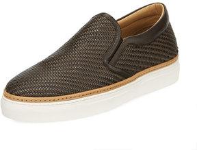 Ermenegildo Zegna Pelle Tessuta Woven Leather Slip-On Sneaker, Brown