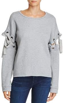 En Creme Lace-Up Sleeve Sweatshirt