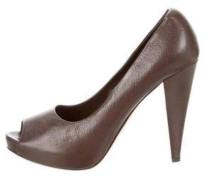 Bally Leather Peep-Toe Pumps