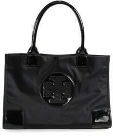 Tory Burch Ella Mini Nylon & Faux Leather Tote - BLACK - STYLE
