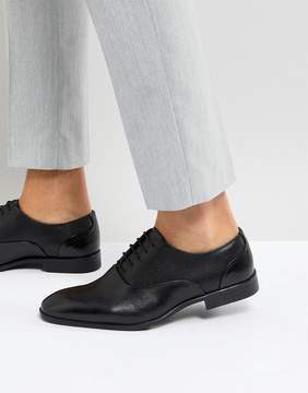 Asos Oxford Shoes In Black Leather With Emboss Panel