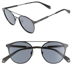 Polaroid Women's 51Mm Polarized Round Stainless Steel Sunglasses - Black