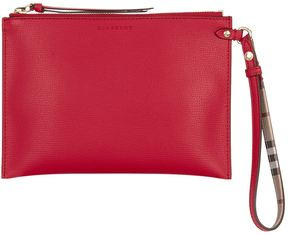 Burberry Grained Leather Pouch - RED - STYLE