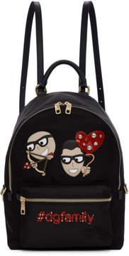 Dolce & Gabbana Black Cupid DGFamily Vulcano Backpack