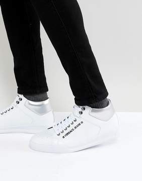 Versace High Top Sneakers In White With Badge Logo