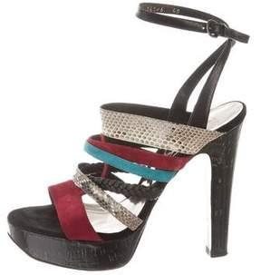 Barbara Bui Snakeskin-Trimmed Platform Sandals