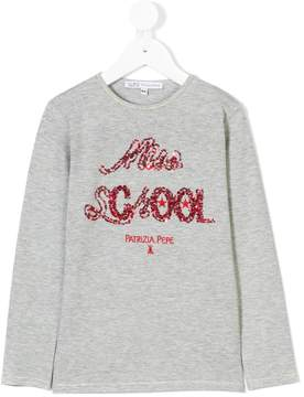 Patrizia Pepe Junior sequin embroidered T-shirt