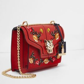 River Island Womens Red embroidered jaguar lock chain satchel bag