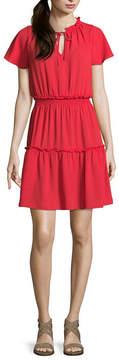 BELLE + SKY Short Sleeve Smocked Ruffle Dress