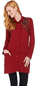 Bob Mackie Bob Mackie's Button Front Floral EmbroideredLong Cardigan