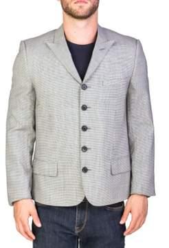 Christian Dior Men's Wool Five-Button Sportscoat Houndstooth Jacket White Grey Black