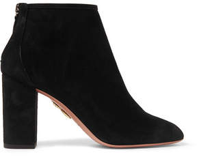 Aquazzura Downtown Suede Ankle Boots - Black
