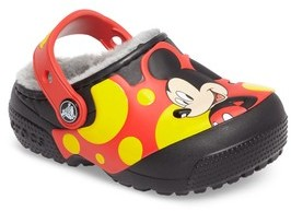Crocs Toddler Boy's TM) Fun Lab Fuzz Lined Mickey(TM) Clog