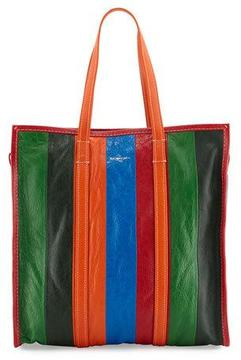 Balenciaga Bazar Shopper Medium Striped Leather Shopper Tote Bag, Multi