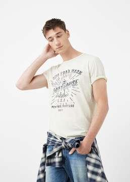Mango Outlet Printed slub-cotton t-shirt