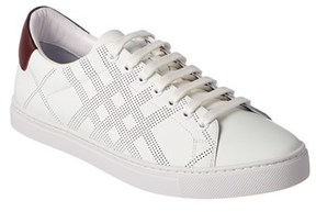 Burberry Check Perforated Leather Trainer.