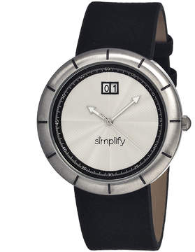 Simplify Silver The 1300 Leather-Strap Watch - Men