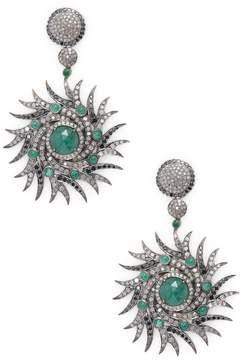 Artisan Women's Designer Sun Burst Earring with Diamonds and Emerald