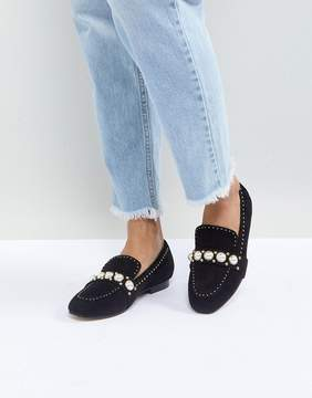Carvela Leighton Pearl Embellished Suede Loafers