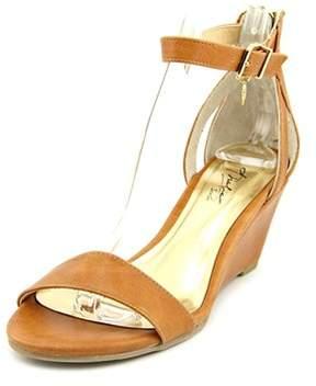 Thalia Sodi Lordes Women Open Toe Leather Tan Wedge Sandal.