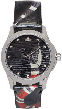 Gucci Silver and Black Le Marché Des Merveilles Snake Watch