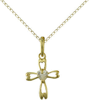 JCPenney FINE JEWELRY Girls Cubic Zirconia Cross Pendant 14K Gold Necklace