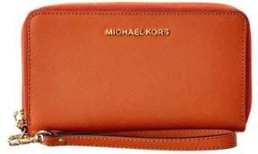 MICHAEL Michael Kors Jet Set Travel Large Leather Wallet. - ORANGE - STYLE