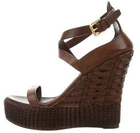 Ralph Lauren Purple Label Leather Wedge Sandals