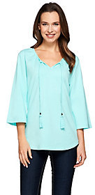 Denim & Co. Scoop Neck 3/4 Sleeve Peasant Top with Neck Ties