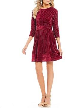 Copper Key 3/4 Sleeve Velvet Swing Dress