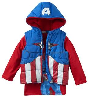 Marvel Toddler Boy Captain America Heavyweight Fleece-Lined Vest & Tee Set