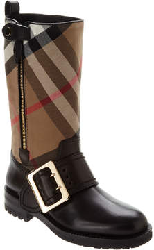 Burberry House Check Buckle Detail Leather Boot