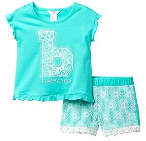 Bebe Puff Printed Knit Top & Lace Shorts Set (Little Girls)