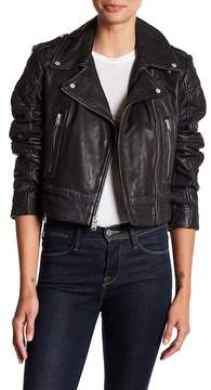 Andrew Marc Dylan Washed Leather Asymmetrical Moto Jacket