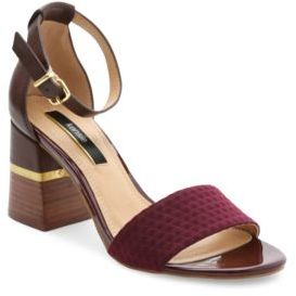 Kensie Estan Faux Leather-Trimmed Open-Toe Sandals