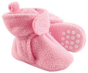Luvable Friends Light Pink Fleece Gripper Booties - Girls