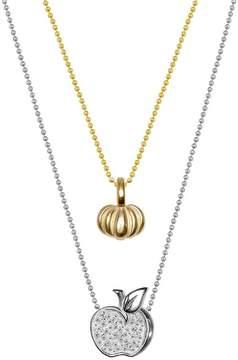 Alex Woo 14K Yellow Gold & Sterling Silver Mini Pumpkin & Diamond Apple Pendant Necklace - Set of 2 - 0.04 ctw