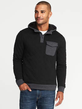 Old Navy Quilted Color-Block Henley Hoodie for Men