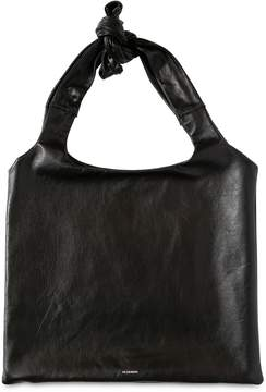 Jil Sander Logo Printed Leather Top Handle Bag