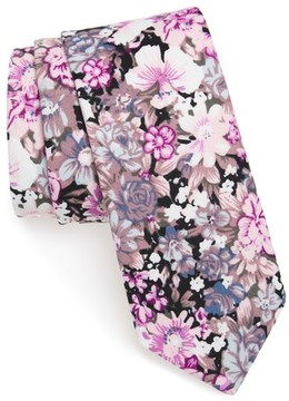 1901 Men's Garnet Floral Print Cotton Skinny Tie