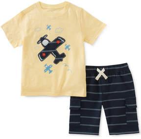 Kids Headquarters 2-Pc. Graphic-Print Cotton T-Shirt & Striped Shorts Set, Little Boys